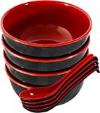 Chef Miso Set of 4 Large Melamine Noodle Soup Bowls and Spoons - Red and Black 28 Ounce