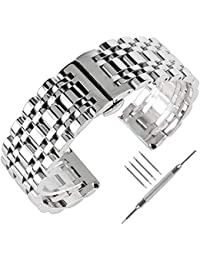 24mm Solid Stainless Steel Wrist Watch Strap Polished Metal Quick Fold-Over Clasp Replacement …