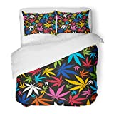 Emvency Bedding Duvet Cover Set Twin (1 Duvet Cover + 1 Pillowcase) Weed Colorful Cannabis Leaves On Black Marijuana Ganja Smoke Leaf Addiction Autumn Hotel Quality Wrinkle Stain Resistant