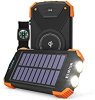 Solar Power Bank, Qi Certified Wireless Charger Portable External Battery Pack Type C Input Port Dual Flashlight,...
