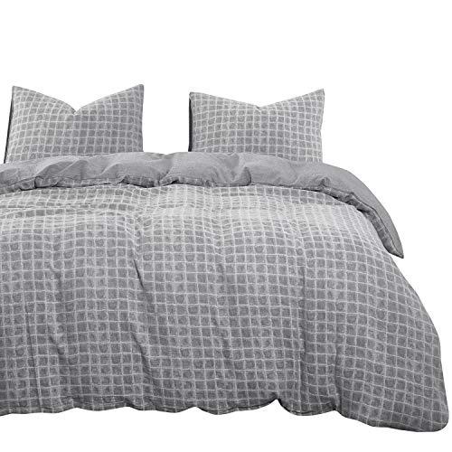 Wake In Cloud - Vintage Grid Duvet Cover Set, 100% Jacquard Cotton Bedding, Gray Grey Plaid Geometric Pattern, Zipper Closure (3pcs, Queen Size)
