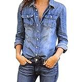 Ladies Blouse Casual Denim Shirt Womens Long Sleeve Tops Jean Blouse (M (chest: 37.0' ), Blue)
