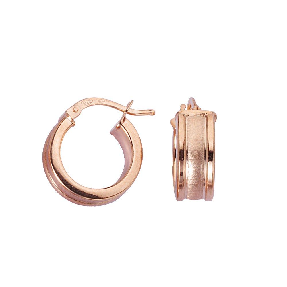 SS 6MM X 10MM HOOP//SATIN W//SHINY EDGE Hoop Earrings