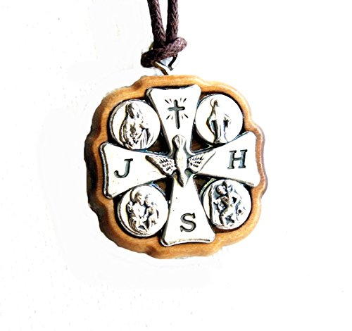 Necklace Wood Cross with Silver 4-way FOUR Way Crucifix Confirmation First Holy Communion Baptism
