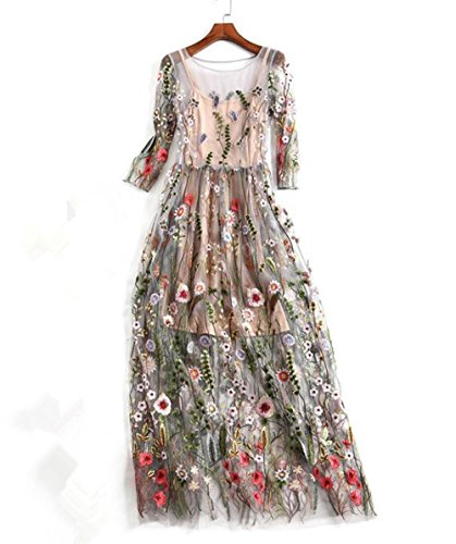 [Women's Embroidered Floral Evening Dress Spliced Tulle Maxi Lace Mesh Hollow Out Cocktail Dresses With Cami Dress (L)] (Floral Long Skirt Evening Gown)