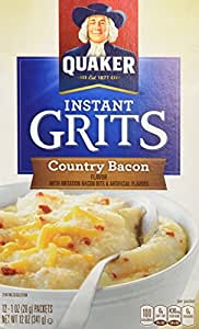 Quaker Country Bacon Flavor Instant Grits, 12 Ounce