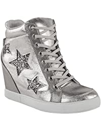 Womens Hidden Wedge Lace Up High Top Sneakers Glitter...