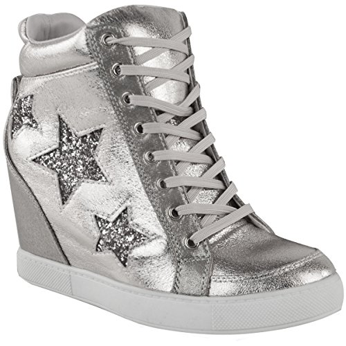 - Fashion Thirsty Womens Hidden Wedge Lace up High Top Sneakers Glitter Star Shoes Size 7