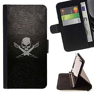 Momo Phone Case / Flip Funda de Cuero Case Cover - Pirate Symbole Inscription Skull Swords bateau à voile - HTC One A9