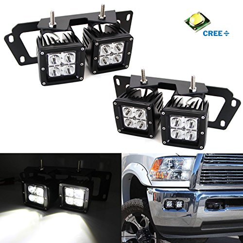 iJDMTOY 4x CREE High Power Dual LED Pod Light Kit w/ Fog Lamp Location Mounting Brackets & Wiring Adapters For 2009-2012 Dodge RAM 1500 or 2010-2018 Dodge RAM 2500 3500
