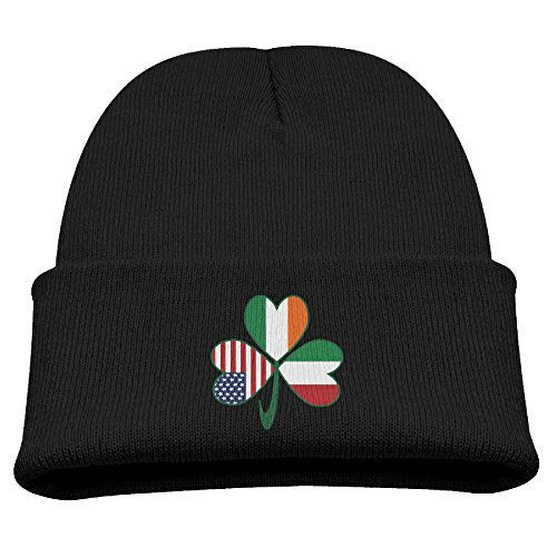 [Italian Irish American Shamrock Unisex Kids Beanie Caps Black] (Crazy Hat Day Ideas For Kids)