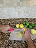 Zester, Zulay Stainless Steel Grater, Cheese, Lemon, Ginger, Potato & Citrus Grater with Plastic Cover, Long Ergonomic Handle, Red