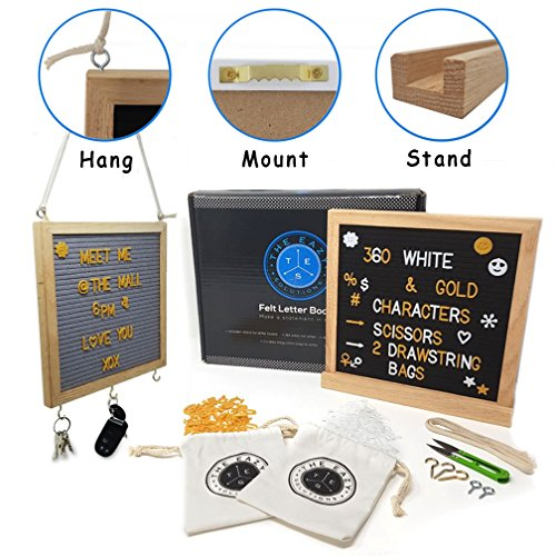 Sign Felt Letter Board Set 10x10 Double Sided Gray and Black/Deluxe Oak Frame with Hanger, Stand and Key Holders/ 720, ¾ Inch Changeable Announcement Letters and Symbols in Gold and White with Snips