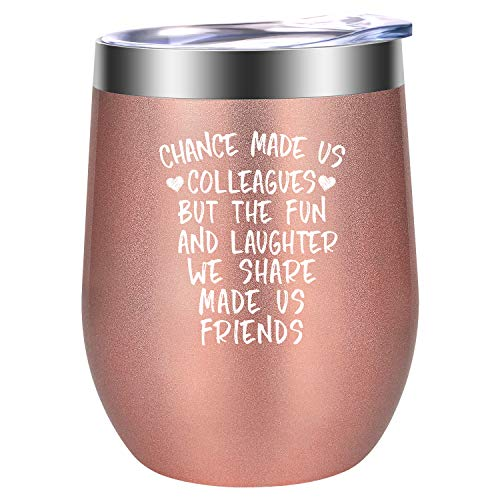 Chance Made Us Colleagues - Best Coworker Leaving Gifts for Women - Funny Thank You, Going Away, Goodbye, Good Luck, New Job, Farewell Gifts for Coworkers, Friends, Boss - LEADO 12oz Wine Tumbler Cup