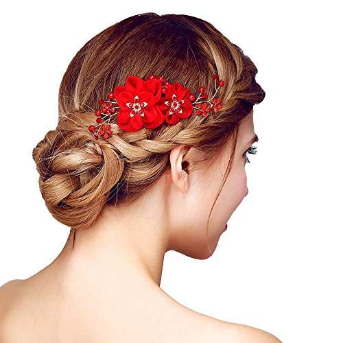 Happy Hours - Handmade Bridal Hair Flower Side Comb Barrette Headpiece with Tulle Flower Wedding Accessories(Style B, Red)