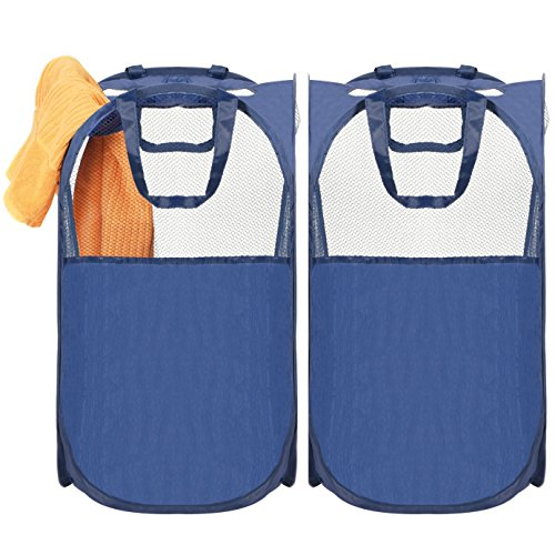 Pop Up Laundry Hamper, MaidMAX Heavy Duty Mesh Laundry Bags Collapsible Laundry Basket Foldable Dirty Clothes Hamper with Reinforced Carry Handles for Home College Dorm, Blue, 2-Pack