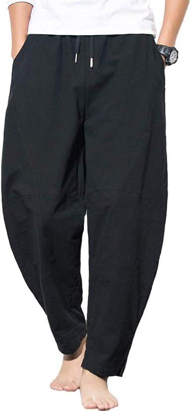 Tienew Pantalon Lino Hombre Baggy Casual Harem Capri Pantalones 2018 Pantalon Jogger Hombre Pantalones Cortos Pantalones Harem Baggy Anchos Vintage Casual Cintura Elastica Pantalones De Lino Amazon Es Ropa Y Accesorios