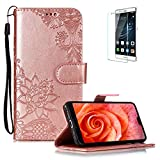 Funyye PU Leather Wallet Case for Huawei P20 Free HD Protector,Premium Lace Flower Pattern Magnetic Flip with Cash Pouch Card Slot Design Cover for Huawei P20,Rose Gold