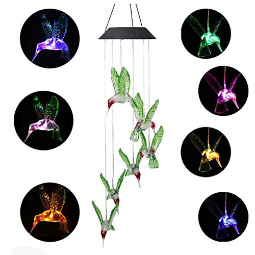 wang JESS LED Solar Hummingbird Light, Waterproof 7 Color Changing Bird Mobile Wind Chime Light for Night Garden,Home Decoration,Christmas Party - Color Light from wang JESS