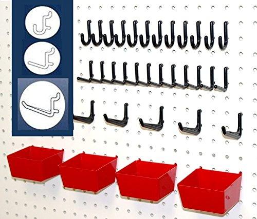 WallPeg Pegboard Hooks, Plastic Pegboard Bins, 26 Pc. Kit Tool Holders Workbench