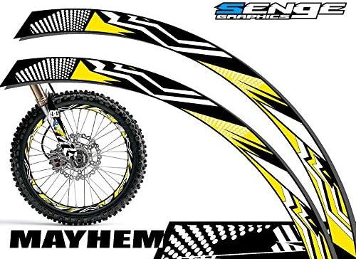 Senge Graphics Mayhem Yellow rim protector set for one 18 inch rim and one 21 inch rim