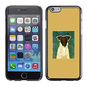 TopCaseStore / la caja del caucho duro de la cubierta de protección de la piel - Smooth Fox Terrier Art Portrait Dog - Apple iPhone 6