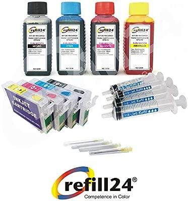T16 Cartuchos Recargables para Epson 1631,1632,1633,1634 + Tinta DE SUBLIMACION 400ml para impresoras Workforce WF-2010 W,2500 ...