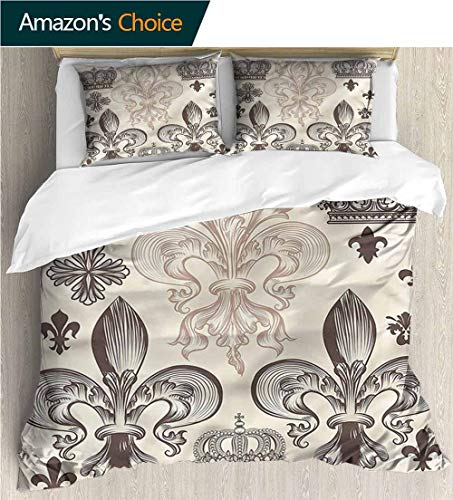 Full/Queen Size Quilt Bedding Set,Box Stitched,Soft,Breathable,Hypoallergenic,Fade Resistant 3 Piece Bedding Quilt Coverlets - 100% Cotton Bed Quilts Coverlet-Fleur De Lis Heraldic Coat Of -