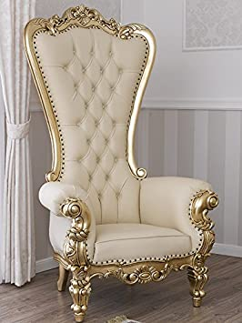 Silln trono estilo barroco francs hoja dorado sinttica champn