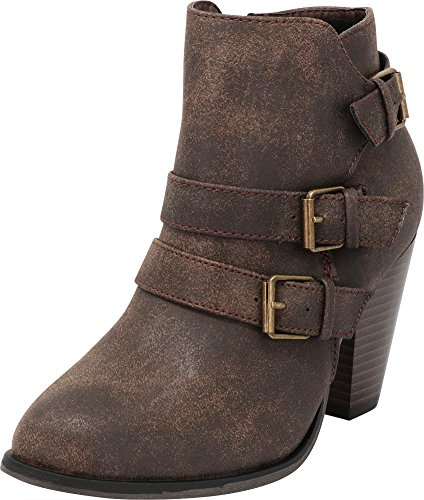 Cambridge Select Women's Buckle Strap Block Chunky Heel Ankle Booties Brown