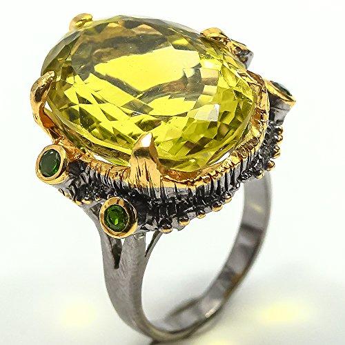 Diopside Quartz Ring - Oval Cut Natural Lemon Quartz Ring 925 Silver Size 6 us