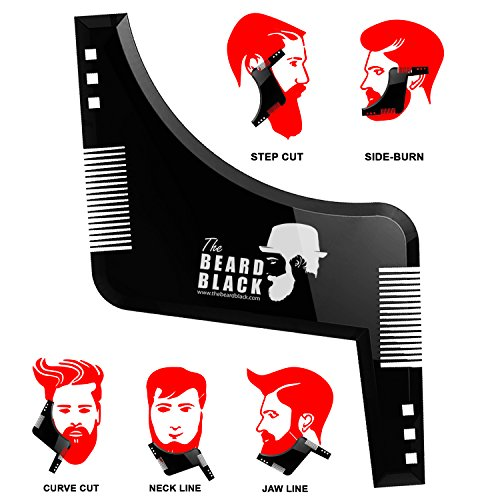 Black Beard Facial Hair Kit (Beard shaping & styling tool with inbuilt comb for perfect line up & edging, use with a beard trimmer or razor to style your beard & facial hair, Premium quality product by The Beard Black)