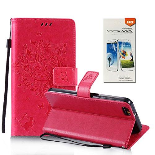 OuDu Funda Huawei Honor 4X Carcasa de Billetera Funda PU Cuero para Huawei Honor 4X Carcasa Suave Protectora con Correas de Teléfono Funda Arbol Flip Wallet Case Cover Bumper Carcasa Flexible Ligero U