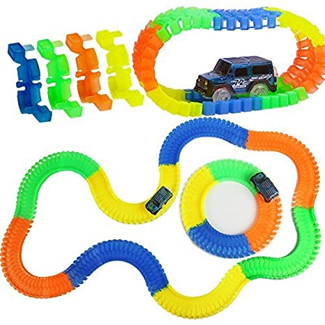 Qualimate Magic Race Bend Flex and Glow Tracks-220 Pieces Model Train Track Construction at amazon