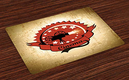 Ambesonne Movie Theater Place Mats Set of 4, Old Movie Camera Surrounded by Stars on Grungy Background, Washable Fabric Placemats for Dining Room Kitchen Table Decoration, Pale Brown Vermilion Black ()
