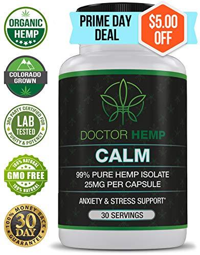 - Doctor Hemp Calm | for Anxiety, Depression & Stress Relief | 750mg of Pure Organic Hemp Extract + Ashwagandha, Rhodiola, 5-HTP, L-Theanine, GABA | Stress Less, Do More | Vegan, Non-GMO | 30 Serv