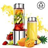 Portable Smoothie Blender, DmofwHi USB Rechargeable Personal Blender for On-The-Go/Travel, MINI Mixer Juicer Cup - BPA free (Silver&Red)