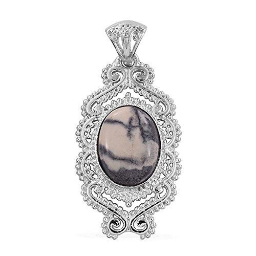 Jasper Porcelain Necklace (Porcelain Jasper Platinum Plated Brass Pendant without Chain TGW 7.200 Ct)