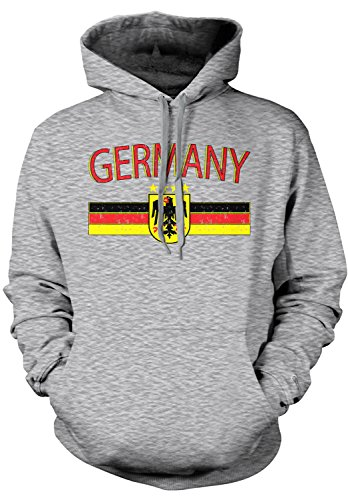 Amdesco Men's Germany Flag and Eagle Crest, German Flag Hooded Sweatshirt, Heather Gray XL