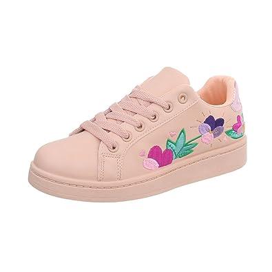 Ital-Design Sneakers Low Damen-Schuhe Schnürsenkel Freizeitschuhe Weiß, Gr 37, A-96-