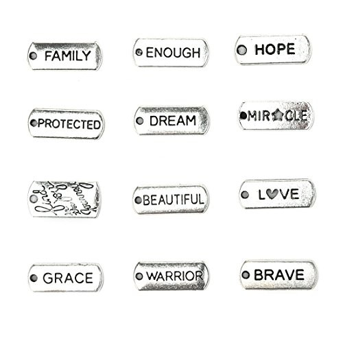 12 Pcs Mixed Antique Silver Plated Inspirational Message Charm Pendants Words Bracelet Connector Charms Craft Supplies