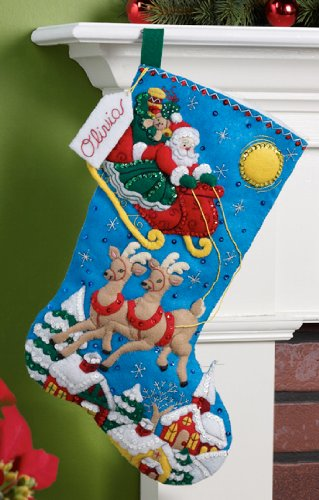 Bucilla 18-Inch Christmas Stocking Felt Applique Kit, 86450 Over The Rooftops