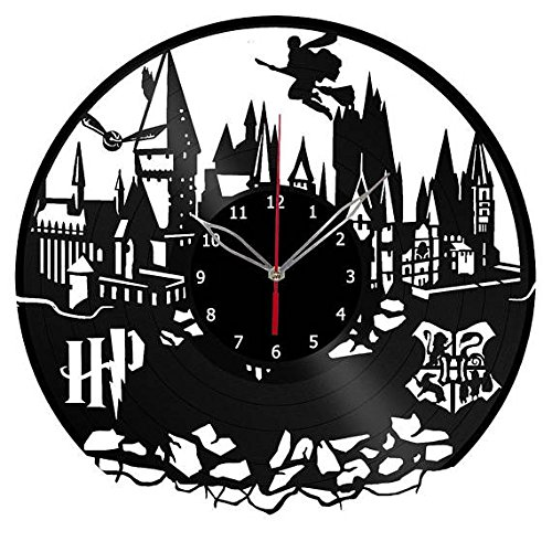 Harry Potter Hogwarts Vinyl Clock Record Wall Clock Handmade Fan Art Decor Unique Decorative Vinyl Clock12 (30 cm) The Best Original Gift