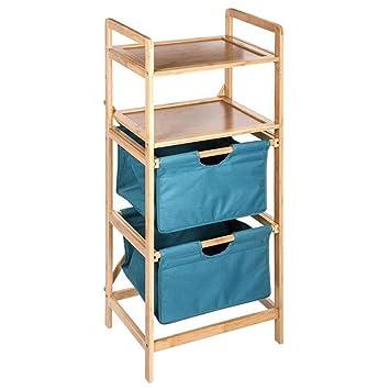 Ablageschrank Fürs Badezimmer Aus Bambus Mit 2 Herausziehbaren