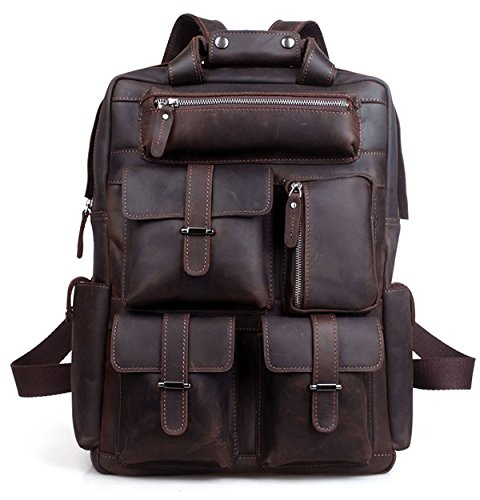 Berchirly Vintage Men Full Real Leather Laptop Backpack Outdoor Travel Shoulder Bag by Berchirly