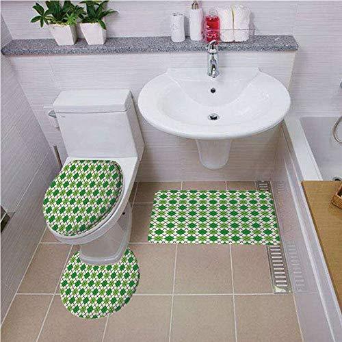 Bath mat set Round-Shaped Toilet Mat Area Rug Toilet Lid Covers 3PCS,Irish,Classical Argyle Diamond Line Pattern with Crosswise Lines Old Fashioned Decorative,Green Light Green White ,Bath mat set Rou