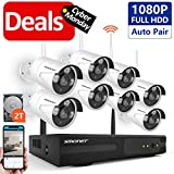 [Better than H.264]Security Camera System Wireless,SMONET 8CH 1080P H.264 PRO Wireless CCTV Camera System(2TB Hard Drive) with 8pcs 2.0MP HD Security Cameras, P2P WiFi Security Camera System, Free APP