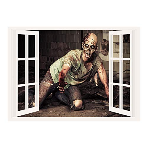 SCOCICI Removable Wall Sticker/Wall Mural/Zombie Decor,Halloween Scary Dead Man in Old Building with Bloody Head Nightmare Theme,Grey Mint Peach/Wall Sticker -