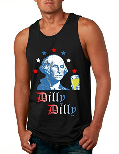 Allntrends Men's Tank Top George Washington Dilly Dilly 4th of July Cheers Gift (XL, Black)