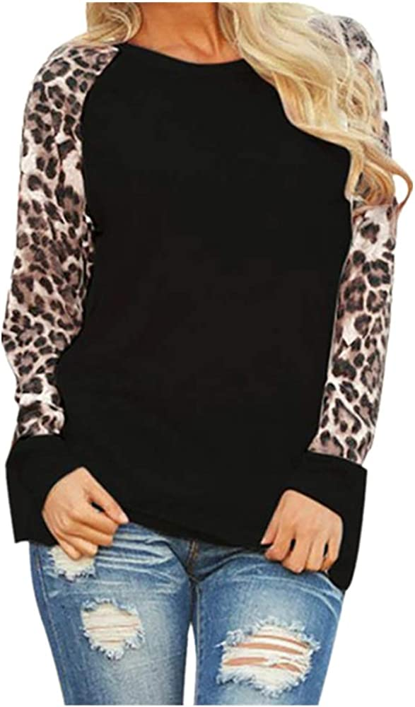 ModaParis Tunics for Women Long Sleeve Summer Winter Crew Neck Color Block Casual Elegant Leopard Printed Shirt